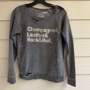 Distressed Champagne Leather Rock&Roll sweatshirt